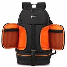 Фото Видео Водонепроницаемая Противоударная камера Плечи Рюкзак мягкий w отражатели в полоску fit 15,6 дюймов Latptop штатив сумка