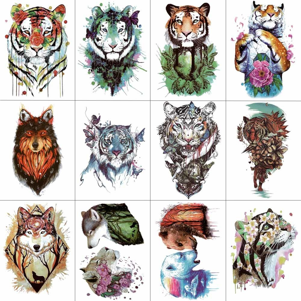 HXMAN 12 PCS/lot Watercolor Tiger Wolf Animals Temporary Tattoo Sticker for Women Men Body Art Hand Fake Tatoo 9.8X6cm W12-22