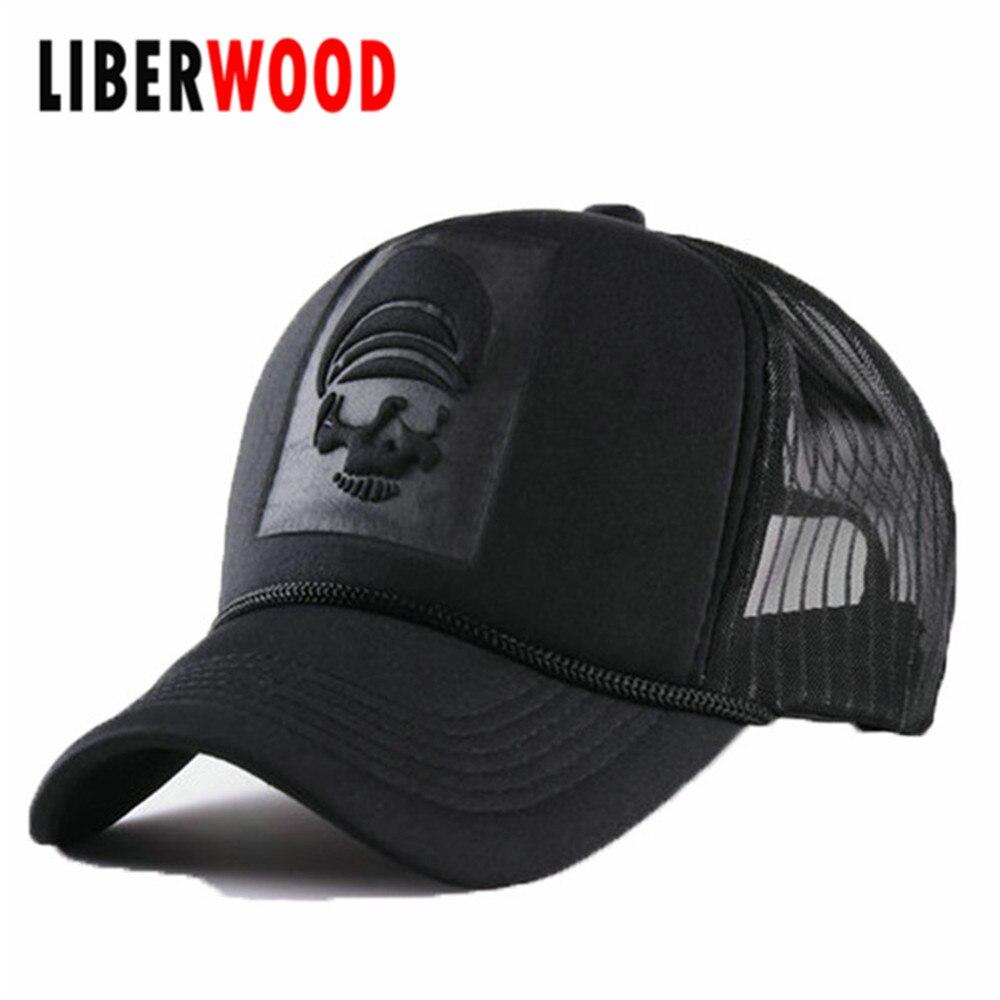 Prix pour Nouvelle hommes femmes rue chapeau De Mode solide tête de tigre crânes maille casquette de baseball crâne camionneur chapeau réglable papa chapeau hip hop noir