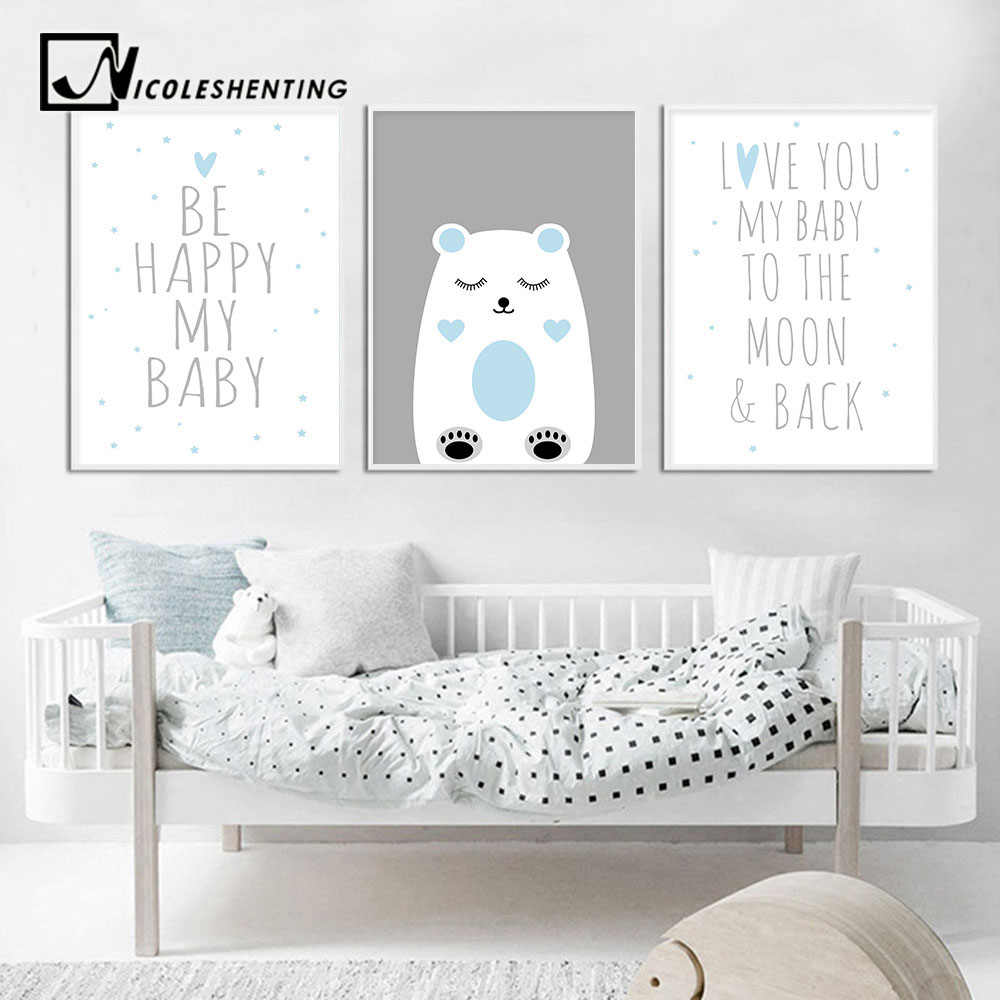 Wall Art Canvas Poster Nursery Quotes Cartoon Blue Bear Print Painting Decorative Picture Nordic Kid Baby Boy Bedroom Decoration