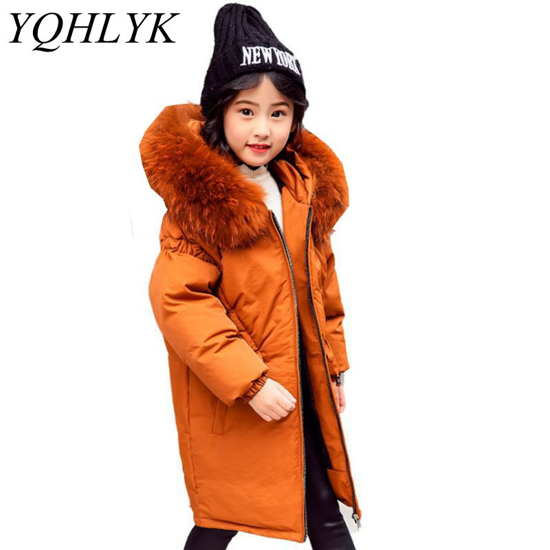 New Fashion Winter Cotton Girls Coat 2018 Korean Children Zipper Hooded Thick Down Jacket Casual Atmosphere Kids Clothes W106 new winter women long style down cotton coat fashion hooded big fur collar casual costume plus size elegant outerwear okxgnz 818