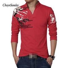 18a048380 New2018 moda marka druku tendencja Slim Fit z długim rękawem T-Shirt  mężczyźni Tee, dekolt w serek, na co dzień, męska koszulka .