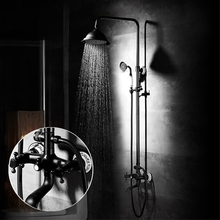 Bathroom Rainfall Shower Faucet Sets Dual Handle Mixer Tap With Hand Sprayer Wall Mounted Waterfall Bathtub Set R45-503