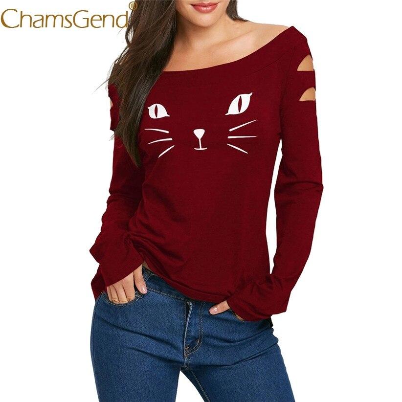 Chamsgend Drop Shipping Women Sexy Off Shoulder Hole Long Sleeve T-Shirt Cat Print Black Shirts 80205