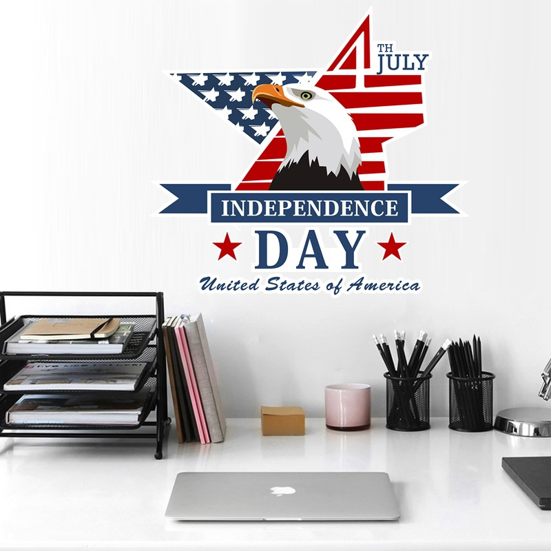 Creative Independence Day <font><b>July</b></font> <font><b>4</b></font> Eagle Vinyl DIY Wall Sticker Decals Home <font><b>Decor</b></font> Bedroom Living Room Home Wallpaper Art Stickers image