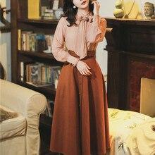 Осенний Женский комплект из двух предметов, винтажная Ретро блузка с бантом на шее, рубашка+ юбка А-силуэта