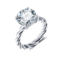 925 Sterling Silver CZ Simulated Engagement Rings Wedding Band Rings For Women Bridal Wedding Jewelry Accessories(RI102325)
