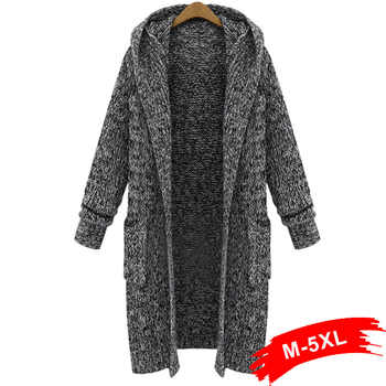 Plus Size Casual Loose Women'S Sweater Cardigan 4XL 5XL Winter 2018 Mid Long Hooded Thick Knitted Sweaters Chandail Femme - DISCOUNT ITEM  42% OFF All Category