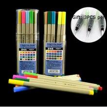 24 Pçs/lote cores pen 0.3mm caneta aquarela arte esboço marcador caneta caneta desenho esboço conjunto de artigos de papelaria material de escritório escola