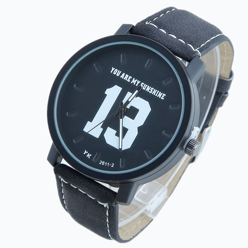 TOP NEW Pu Leather Men Motivational <font><b>Big</b></font> 13 14 numbers Dial <font><b>watch</b></font> analog quartz wristwatches sport boy gentelman man <font><b>unisex</b></font> image