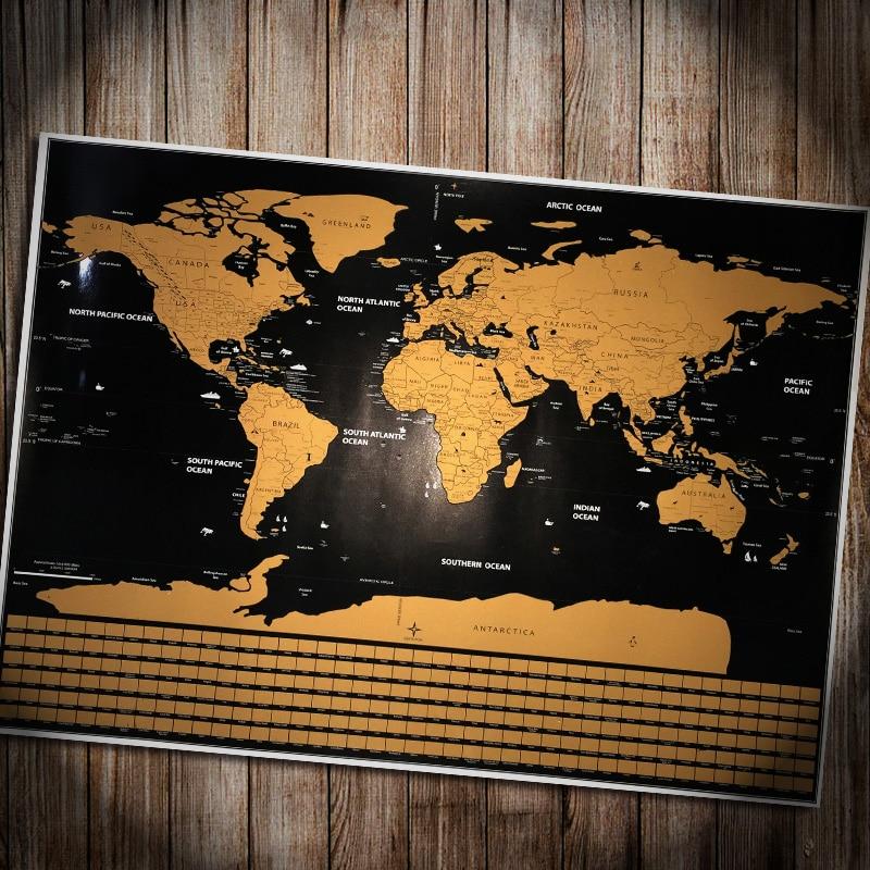 Mapa del mundo rasca Deluxe personalizado Vintage viaje bandera mundo mapa cartel pegatina vacaciones nacional Falg Retro maps 82x59 cm