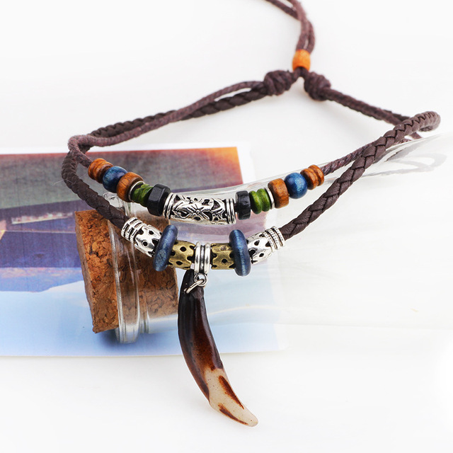 ER Vintage Tribal Boheme Wolf Tooth Necklace Braided Leather Rope Multi Layer Tibetan Beads Neckless Bohemian Jewelry LN066 3