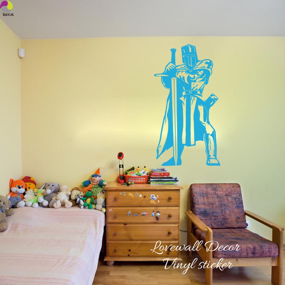 Knight Warrior Wall Sticker Kids Room Living Room Lego Medieval ...