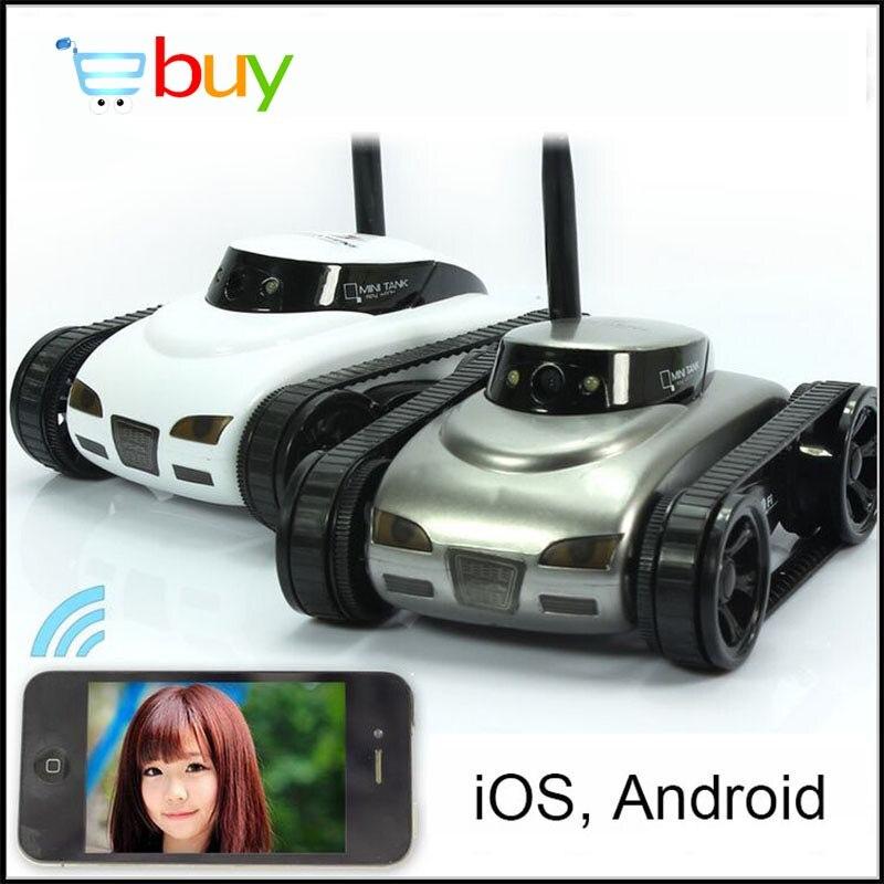 Mini wifi robô câmera tanque rc app em tempo real controlado por ios android dispositivo inteligente para crianças kis brinquedos de controle remoto presentes