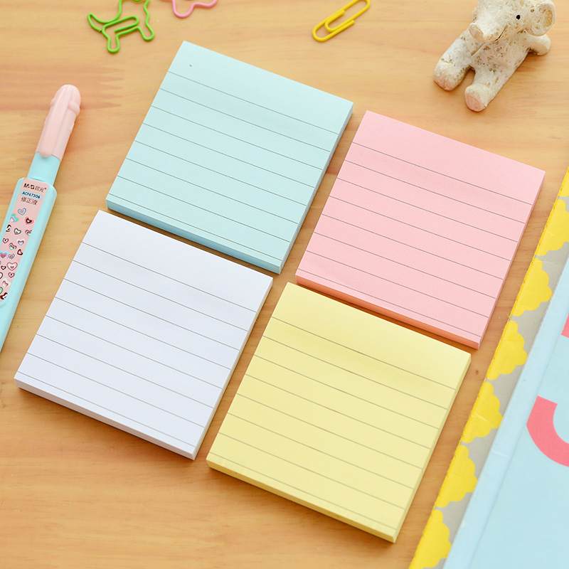 4 pcs Macaron sticky note set Simple striped paper memo pad Removable post Book marker it School stickers Office supply A6580