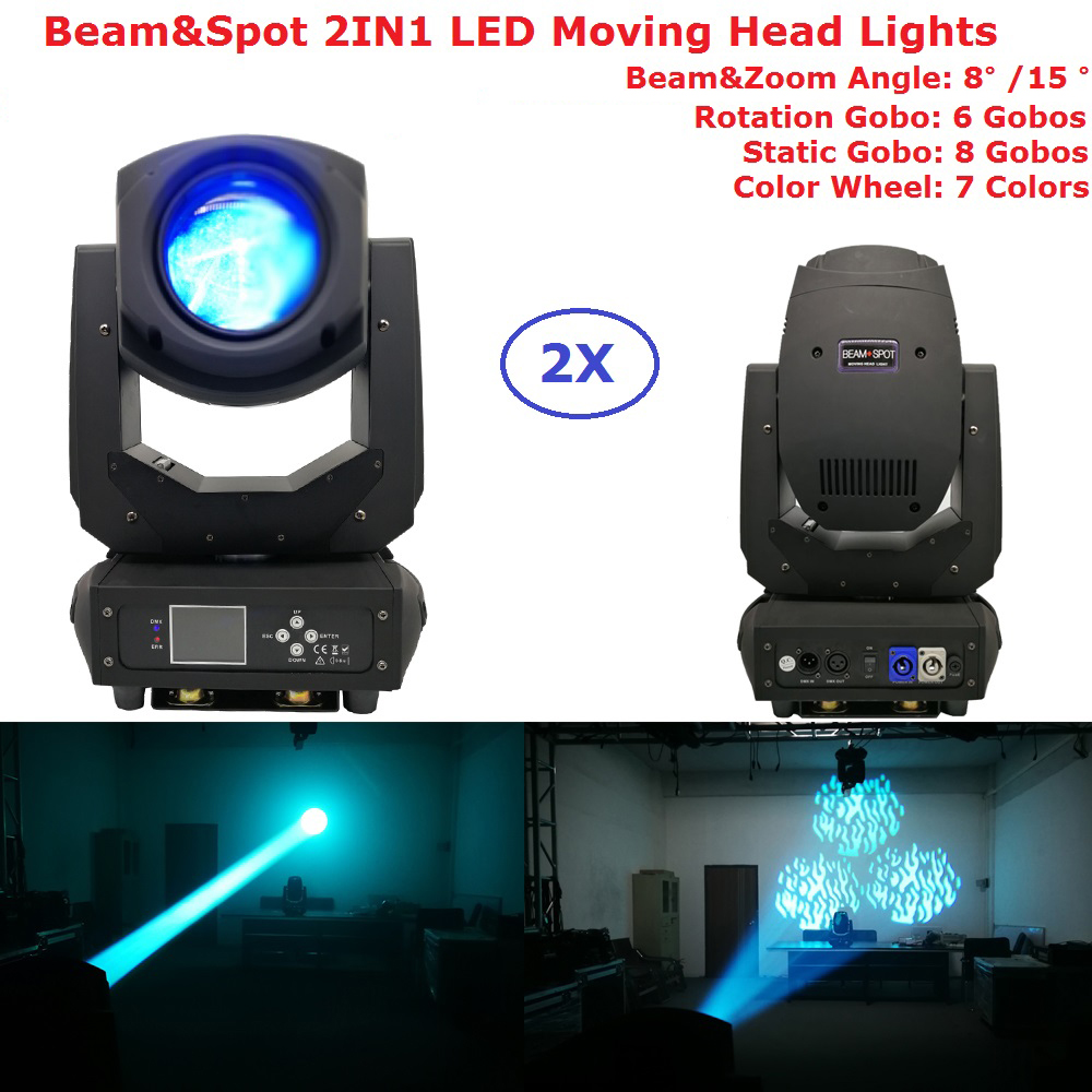 Flightcase Pack 2XLot 200W Beam Spot 2IN1 LED Moving Head Lights Rotation Triple Prism LCD Display DMX Controller 6/18 Channels