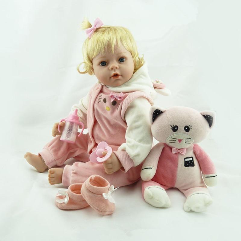 Nyaste Silikon Reborn Doll Realistisk Baby Nyfödd 55cm Snygg Bebe Reborn Dolls Jul Födelsedag Gift Brinquedos för barn