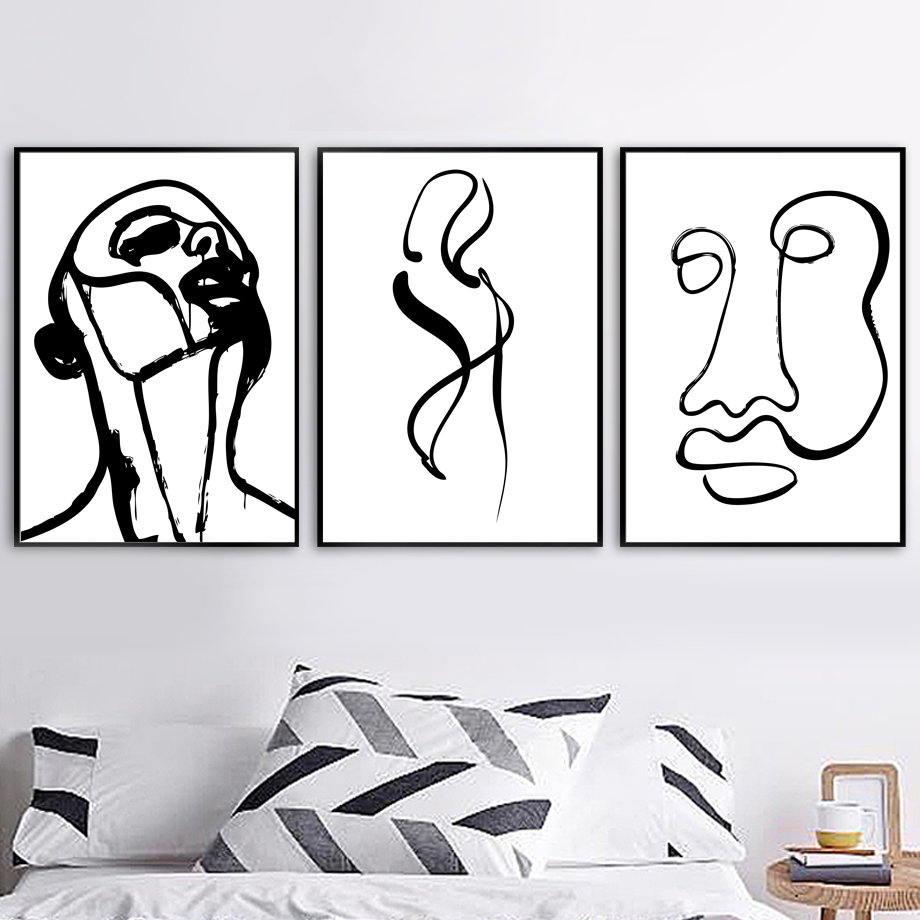 Abstract Simple Figure Black White Nordic Posters And Prints Wall Art Canvas Painting Pictures For Living Room Home Decor
