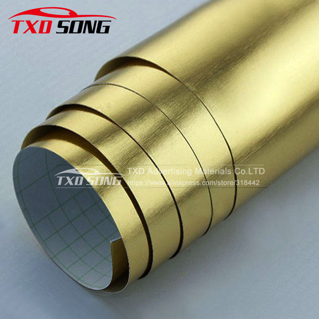 10/20/30/40/50/60CMX152CM/LOT Chrome gold brushed vinyl film Gold brushed mirror Car Sticker with Air bubbles Free Shipping