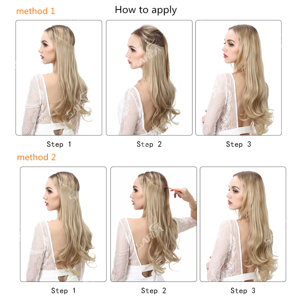 Sarla 200pcslot 22 Natural Synthetic Halo Hair Extensions Straight