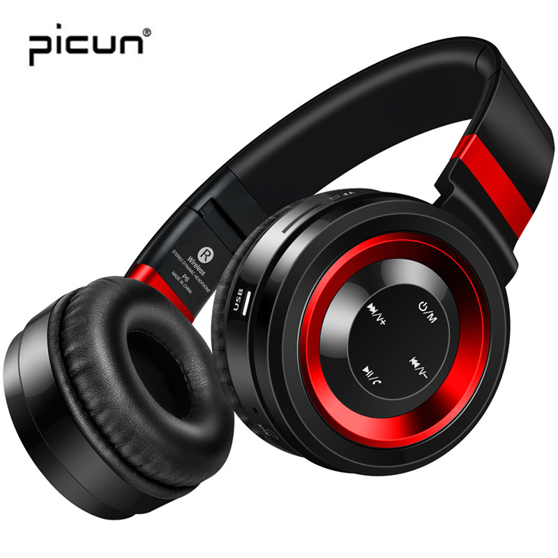 Picun P6 Bluetooth Wireless Headphones with Mic Support TF Card Mp3 & FM Radio Foldable Gaming Headset for xiaomi for sony /PC zealot b570 headset lcd foldable on ear wireless stereo bluetooth v4 0 headphones with fm radio tf card mp3 for smart phone
