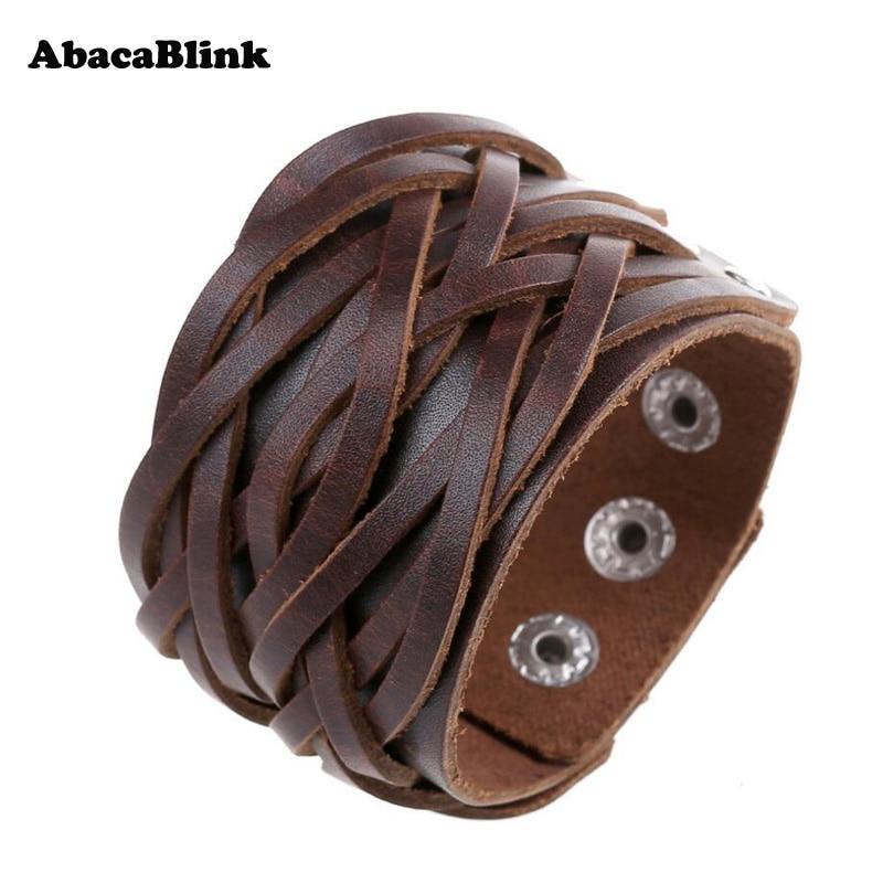 Wide Genuine Leather Cuff Wrap Bangles Punk Rock Vintage Mens Bracelets Double Studded Leather Braided Bracelet