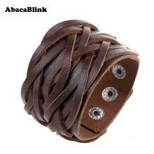 Wide Genuine Leather Cuff Wrap Bangles Punk Rock Vintage Mens Bracelets Double Studded Leather Braided Bracelet Surfer Jewelry