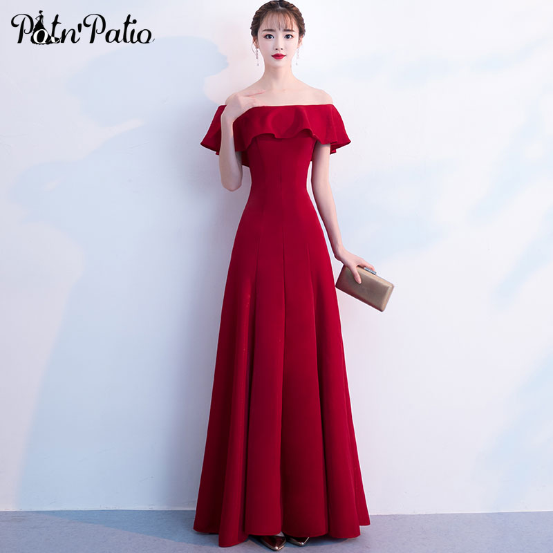 Elegant Wine Red   Evening     Dresses   Long Ruffles Off The Shoulder A-line Floor-Length Simple Formal   Evening   Gowns For Women
