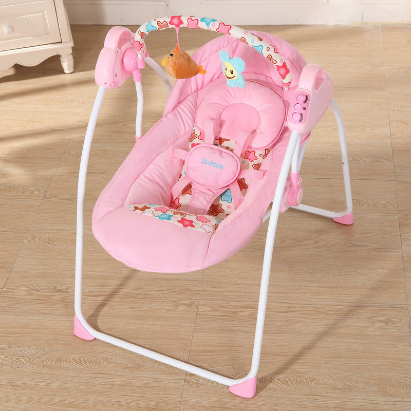 Fashion Baby <font><b>Bouncers</b></font> Swings Foldable Portable Electric Baby Rocking Chair With Music Safe Baby Sleeping Basket