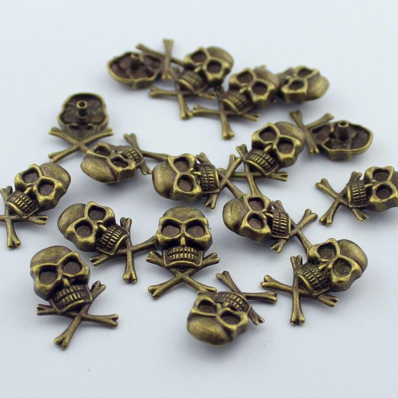 10sets/lot 1.5*2.5cm Brass Spikes Skull Rivet Cool Skeleton Fashion Studs Cellphone Deco. Accessory Garment Rivets for leather