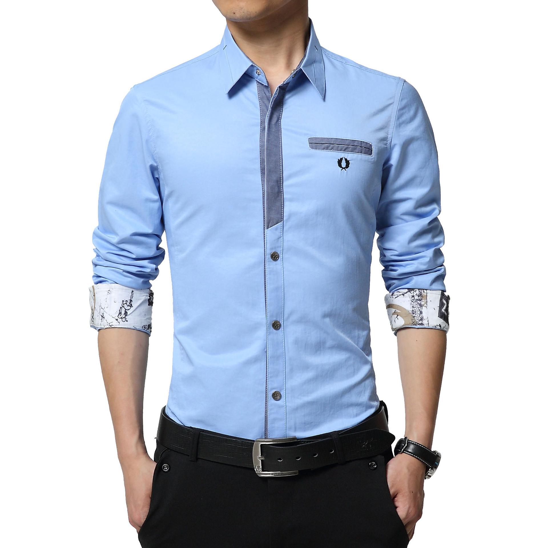 Floral Print Striped Dress Men Shirt Uniform Mens Long Sleeve Slim Fit Top Vintage Cotton Button Down Shirts Camisa Masculina 39