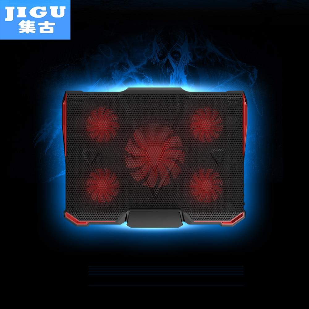 JIGU 5 FAN 2 USB Laptop Cooling Pad Adjustable Notebook Cooler +Holder for 12-17' Laptop usb fan laptop fan