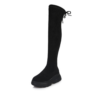 Image 2 - Women Elastic Long Boots Fashion Over The Knees Long Flat Boots Increased Wedges Women Boots Spring Autumn Winter Women Shoes