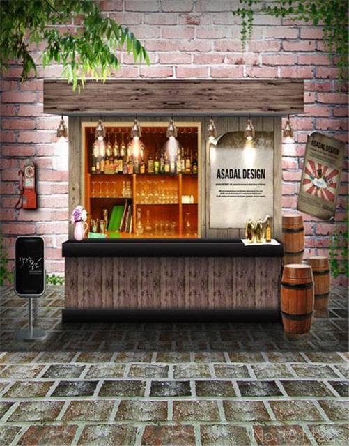 3x5FT Street Pub Cash Counter Brick Wall Yard Beer Barrels Wedding Custom Photography Backgrounds Studio Backdrops