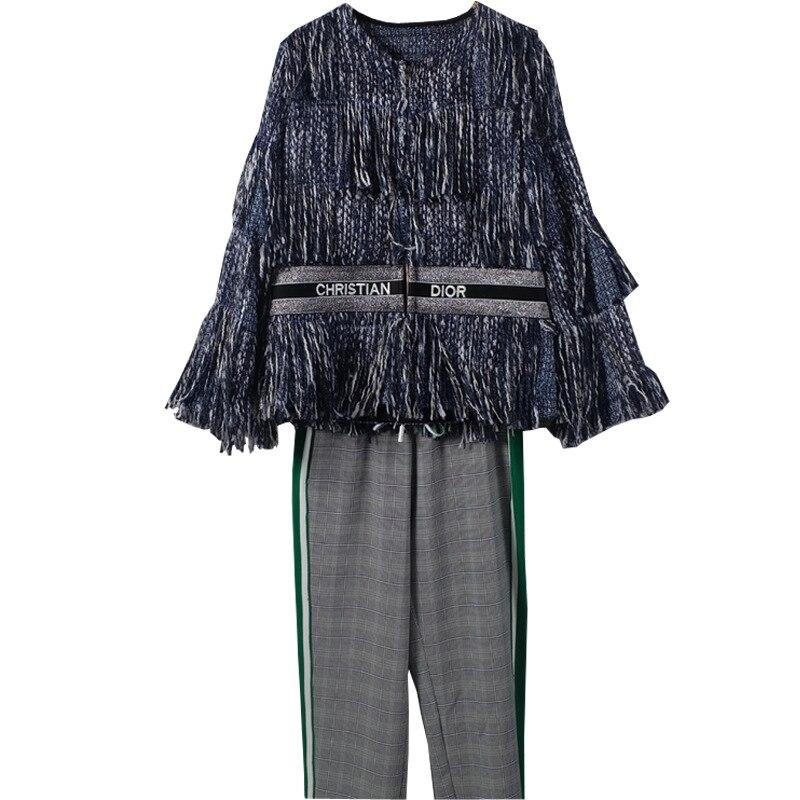Avec Invierno Abrigos Peu Laine Doux 2018 D hiver Paragraphes Court Vestes  Tweed Femmes Mujer Glands Manteau Bleu Vent 1dqgnxPz e4314d200a7