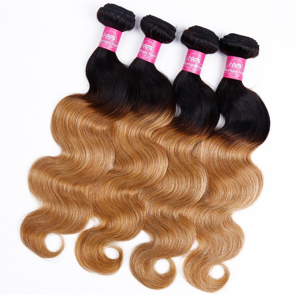 So Silk Body Wave Ombre Human Hair 4 Bundles T1B/27 Brazilian Hair Bundles Two Tone Color Non Remy Ombre Hair Bundles Extensions