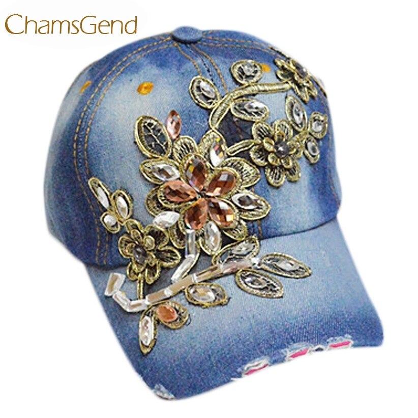 3db0781501 Chapéu Para As Mulheres Novo Design Floral Strass Boné de Beisebol Denim  melhor Chapéu Cap Snapback Tampas de Lona de Boa Qualidade