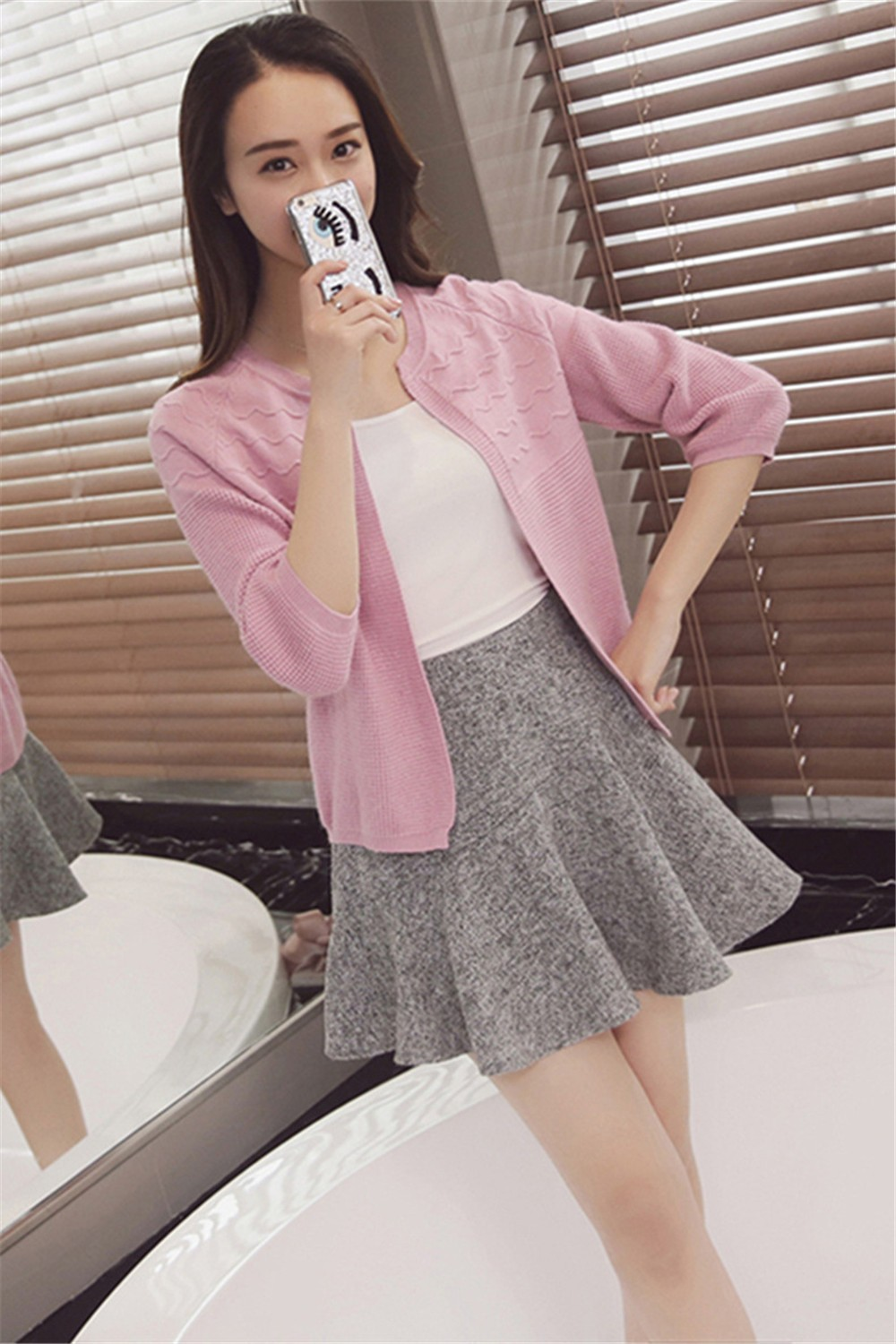 2016 Spring&Autumn Casual Sweater Women Cardigan Sweater Solid Color Open Stitch Women\'s Cotton Knitted Outerwear Sweater (25)