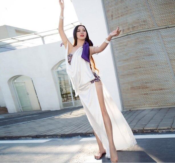 3 Piece Set Egypt Baladi Sexy Beaded Saidi Costume Galabya Belly Dance Lingerie Abaya Handmade White