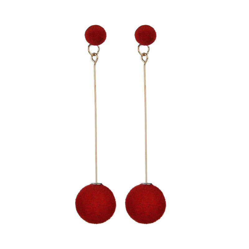 Fashion Red, Black Plush Ball Hanging Earrings Female Korean Personality Round Long Earrings Own Gift Jewelry Statement Earrings