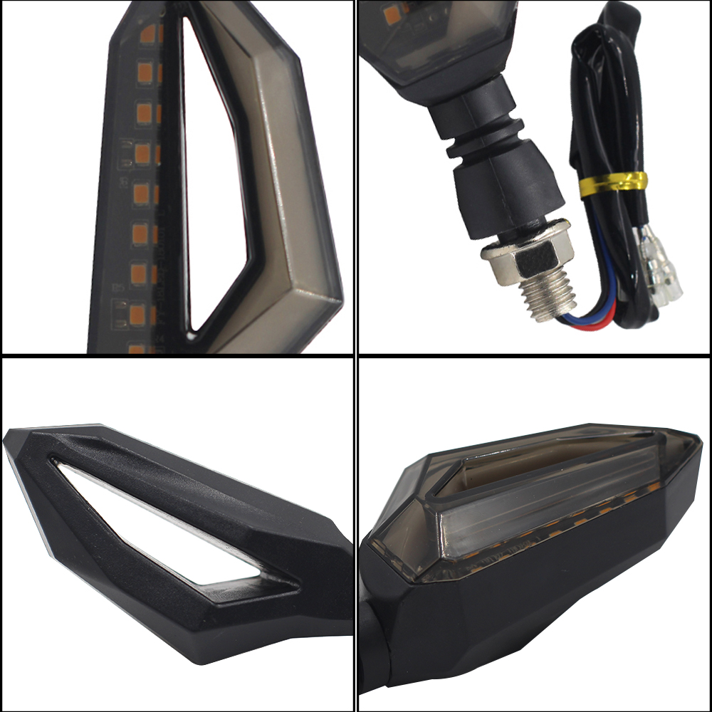 2pcs/Set Flowing Universal Motorcycle Turn Signal Indicators 18led Blinkers Flexible Bendable Lamp Light