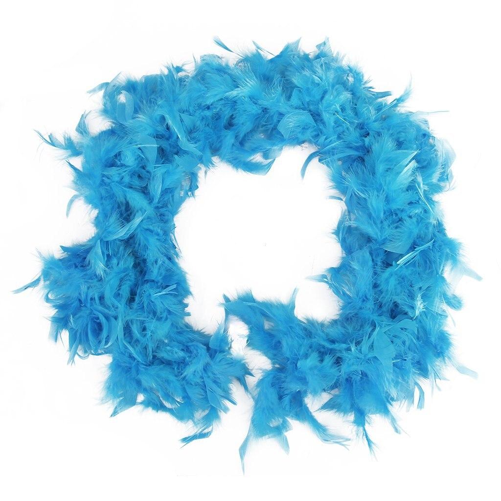 Boa de Plume Pelucheux Decoration Artisanale 6,6 Pieds de Long - Bleu