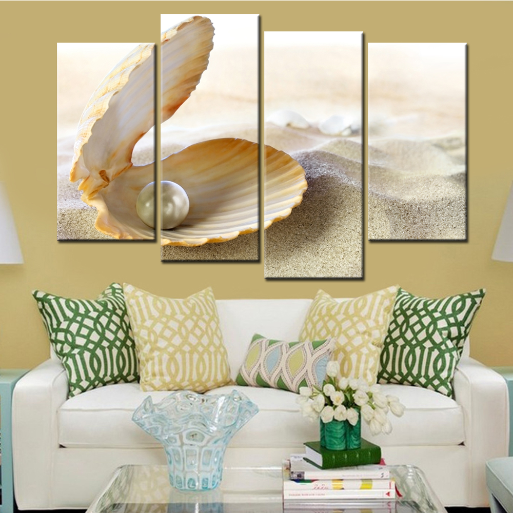 4 Panel Mussels Pearl Shell Wall Modular Painting Canvas for Living ...