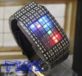 Atacado de moda Mix LED Dot Matrix Mens Watch presente de natal