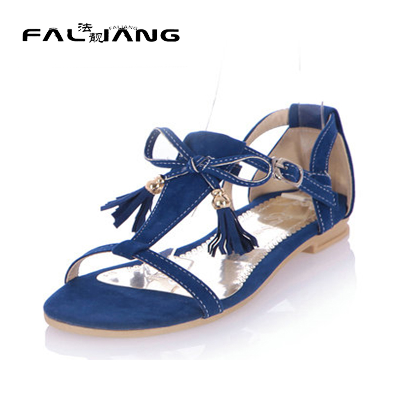 ФОТО Summer T-strap Flat Shoes Woman Fashion Comfortable Sandals Open Toe Faux Suede Fringed Ladies' Shoes