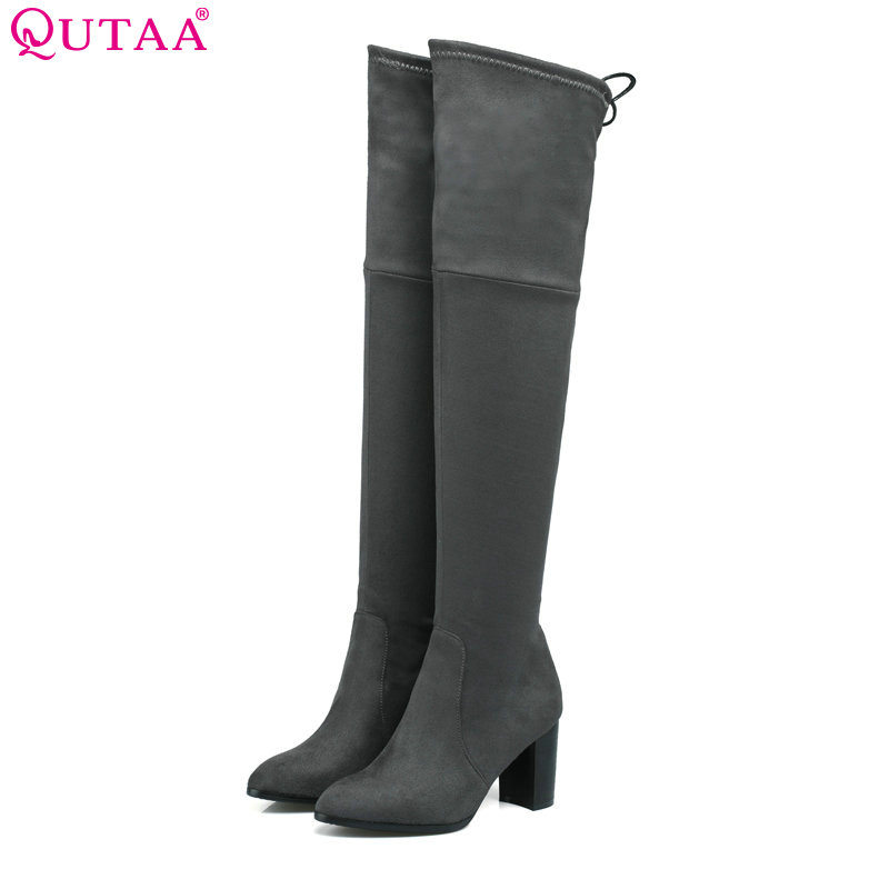 QUTAA 2018 Women Fashon Over The Knee High Boots Round Toe Lace Up Scrub Square High Heel Women Shoes Snow Boots Size 34-43 qutaa 2017 women over the knee high boots all match pointed toe high quality thin high heel pointed toe women boots size 34 43