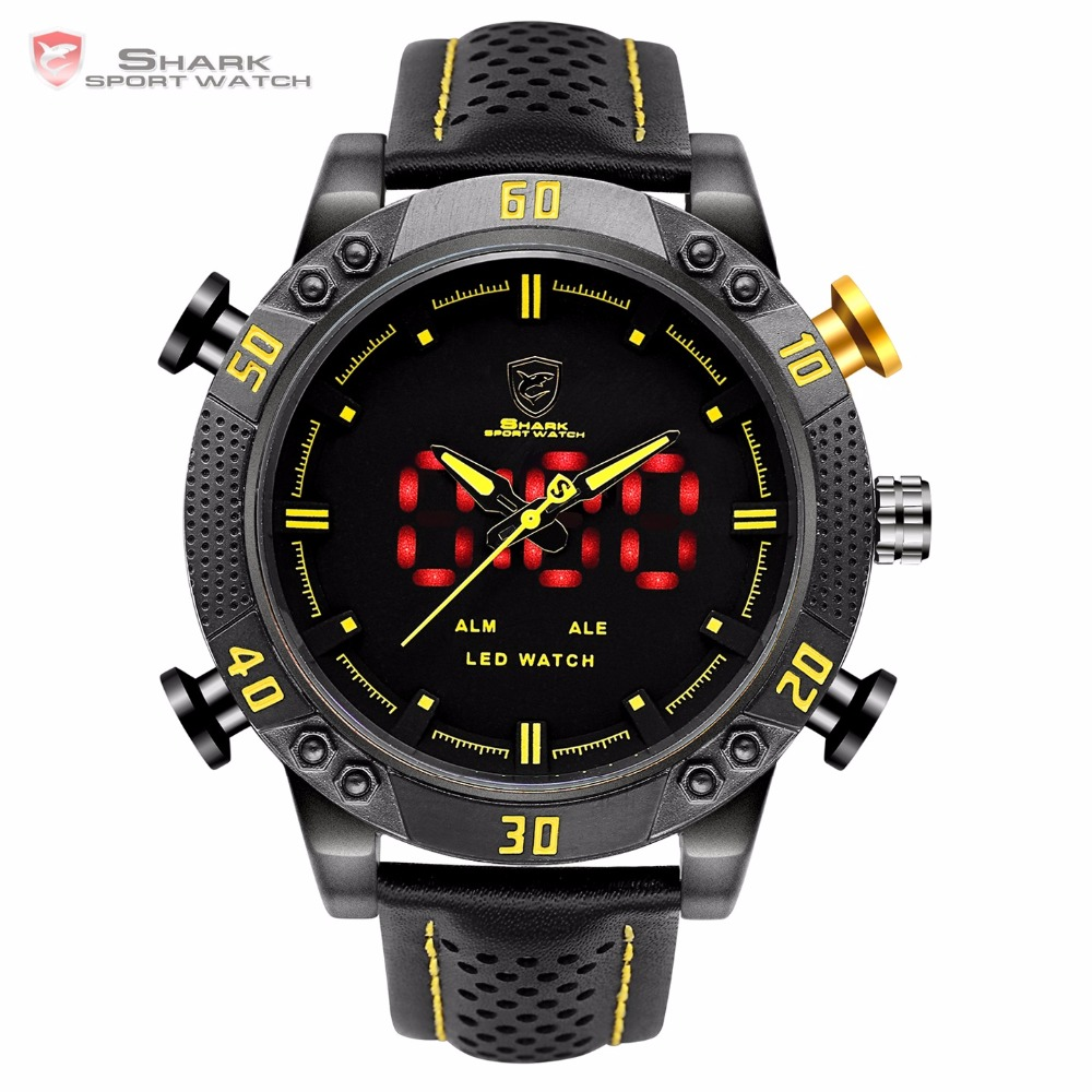 Kitefin Shark Sport Watch Black Yellow Dial 3ATM Waterproof LED Quartz Digital Leather Band Dual Time
