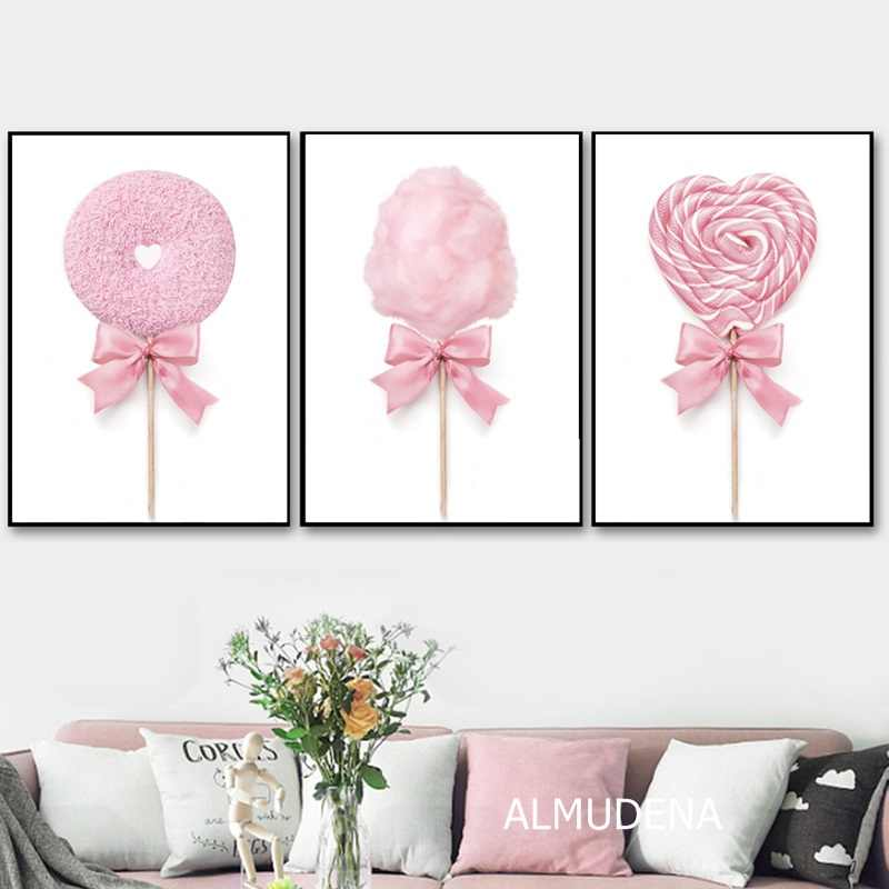 Nordic Posters and Prints Pink Cotton Candy Lollypop Donut Canvas Painting Wall Pictures for Girl Room Dessert Shop Decoration