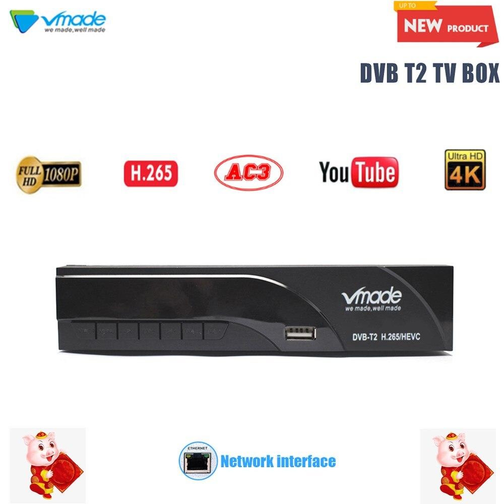 Vmade 2019 Mais Recente DVB-T/DVB-T2 Construído RJ45 H.265/HEVC HD Digital Terrestrial Receiver Suporte Youtube Dolby AC3 DVB caixa de TV