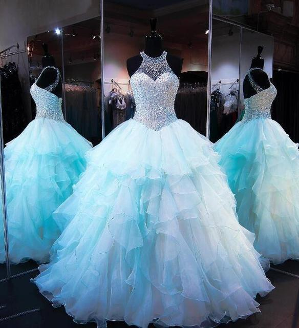 bee76c8795e Ruffled Organza Quinceanera Dresses 2018 Skirt with Pearl Beaded Sweet 16  Dress High Neck Sleeveless Lace up Cups Prom Dresses